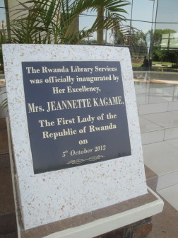 The plaque commemorating the official inauguration of the Kigali Public Library.