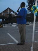 Masterful Master of Ceremonies and Past President of the Rotary Club of Kigali-Virunga / Rckv Rwanda Masterjerb Birungi Paul provides concluding remarks at the Kigali Public Library inauguration.